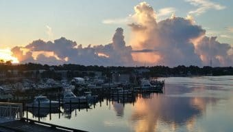 Dawn breaking over a marina on Carrabelle harbor