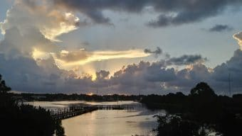 Harbor sunrise seen from Carrabelle bridge