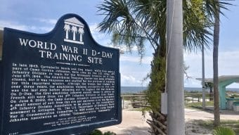 Plaque at Carrabelle beach park commemorates our WWII D-Day heritage